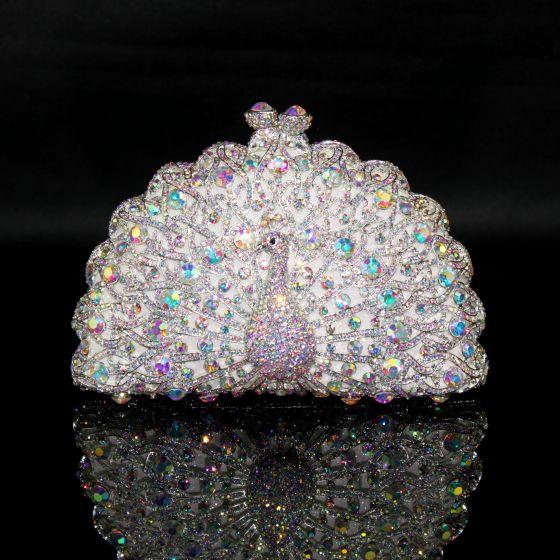 Glitter Bling Bling Zilveren Handtassen Kralen Rhinestone Handgemaakt Leer Huwelijk Feest Avond Accessoires 2019