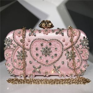 Mode Pink Quadratische Clutch Tasche 2020 Perlenstickerei Perle Strass