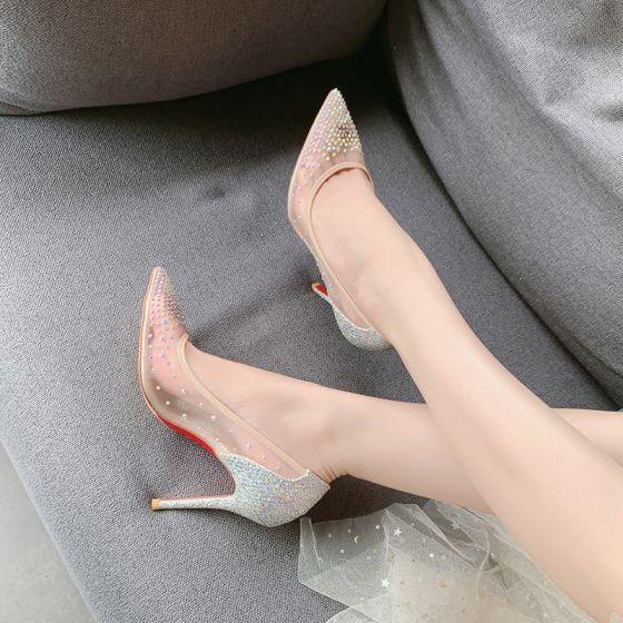 Sjarmerende Nude Aften Rhinestone Pumps 2020 10 cm Stiletthæler Spisse Pumps