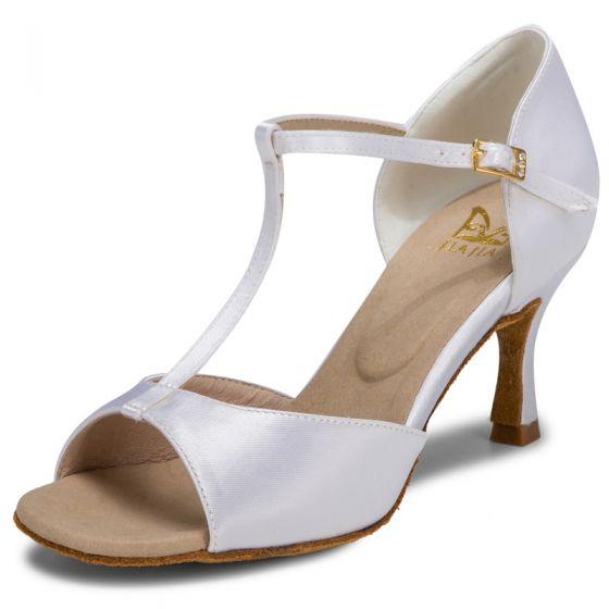 Piękne Białe Bal Latin Buty Taneczne 2021 T-Bar 7 cm Szpilki Szpiczaste Sandały Damskie Wysokie Obcasy