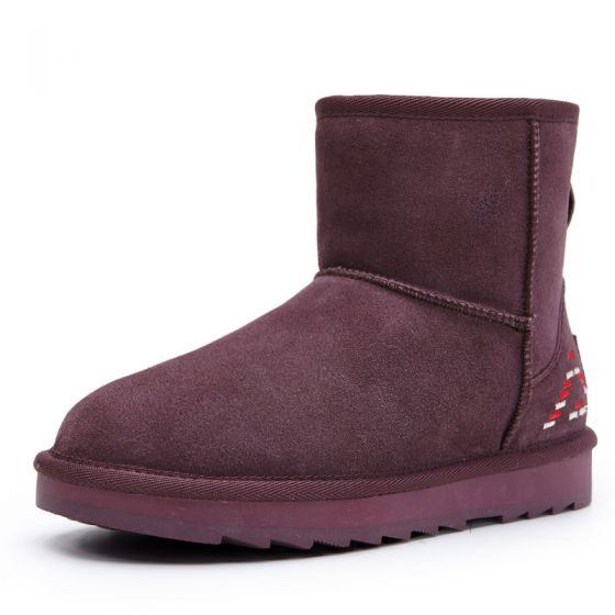 Modern / Fashion Snow Boots 2017 Purple Leather Ankle Suede Embroidered Casual Winter Flat Womens Boots