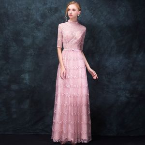 Elegant Candy Pink Pierced Evening Dresses  2018 A-Line / Princess High Neck 1/2 Sleeves Appliques Lace Rhinestone Bow Sash Floor-Length / Long Ruffle Formal Dresses
