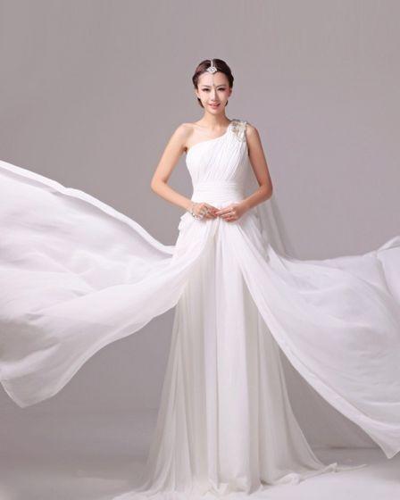 Eleganckie Stale Plisami Frezowanie Charmeuse Ramie Jednego Wiersza Suknie Ślubne Suknia Ślubna Princessa