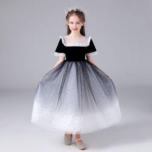Schöne Schwarz Farbverlauf Weiß Geburtstag Blumenmädchenkleider 2020 Ballkleid Durchsichtige Rundhalsausschnitt Ärmellos Pailletten Lange Rüschen