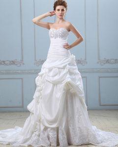 Elegant Applique Ruffle Sweetheart Taffeta Lace Ball Gown Wedding Dress