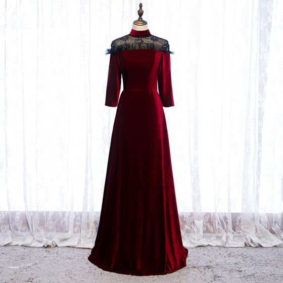 Elegant Bourgogne Selskabskjoler 2020 Prinsesse Suede Høj Hals Beading Rhinestone 3/4 De Las Mangas Lange Kjoler