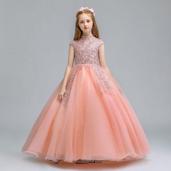 Vintage Perle Rosa Blomsterpikekjoler 2019 Ballkjole Høy Hals Uten Ermer Appliques Blonder Glitter Paljetter Lange Buste Kjoler Til Bryllup