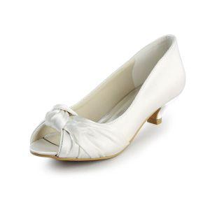 Simple Peep Toe Ruffle Ivory Satin Kitten Heels Wedding Shoes