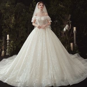 Luxury / Gorgeous Champagne Wedding Dresses 2020 Ball Gown Off-The-Shoulder Appliques Beading Sequins Lace Flower Short Sleeve Backless Royal Train