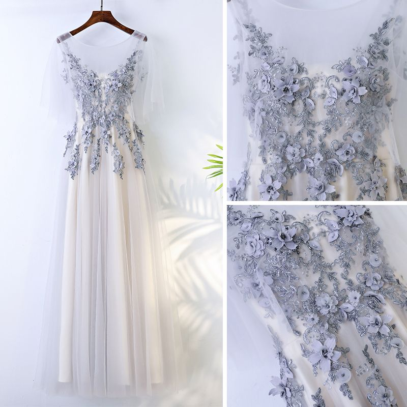 Chic / Beautiful White Bridesmaid Dresses 2017 A-Line / Princess Crossed Straps Appliques Beading Lace Scoop Neck 1/2 Sleeves Tea-length