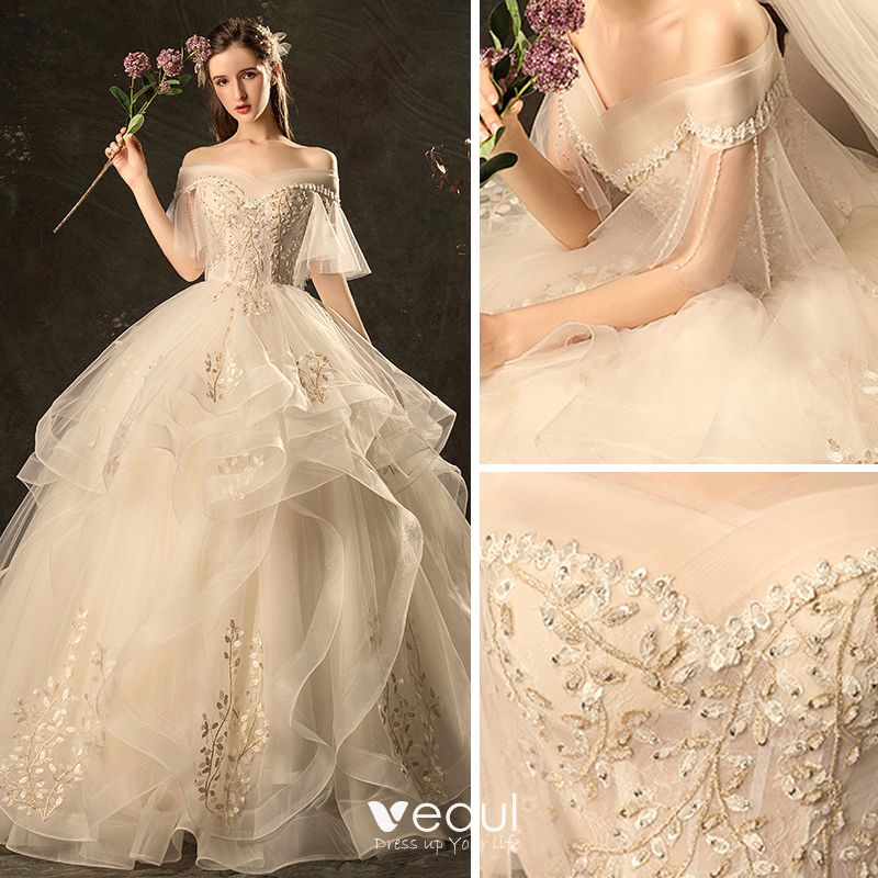Affordable Champagne Wedding Dresses 2019 Ball Gown Off