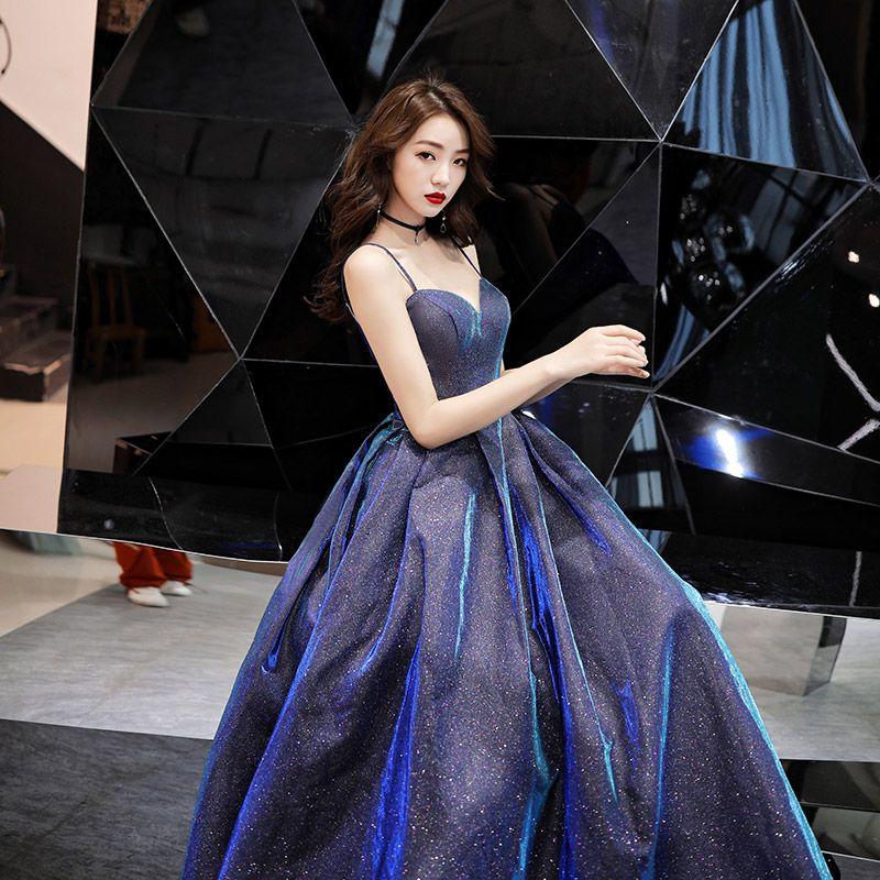 Charming Dark Green Evening Dresses  2019 A-Line / Princess Spaghetti Straps Sequins Sleeveless Backless Floor-Length / Long Formal Dresses