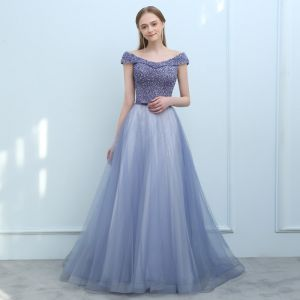 Luxury / Gorgeous Ocean Blue Purple Evening Dresses  2018 A-Line / Princess Off-The-Shoulder Cap Sleeves Sequins Beading Bow Sash Court Train Ruffle Backless Formal Dresses