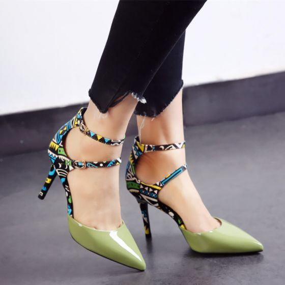Amazing / Unique 2017 8 cm / 3 inch Black Green White Casual Outdoor / Garden PU Summer High Heels Stiletto Heels Pumps