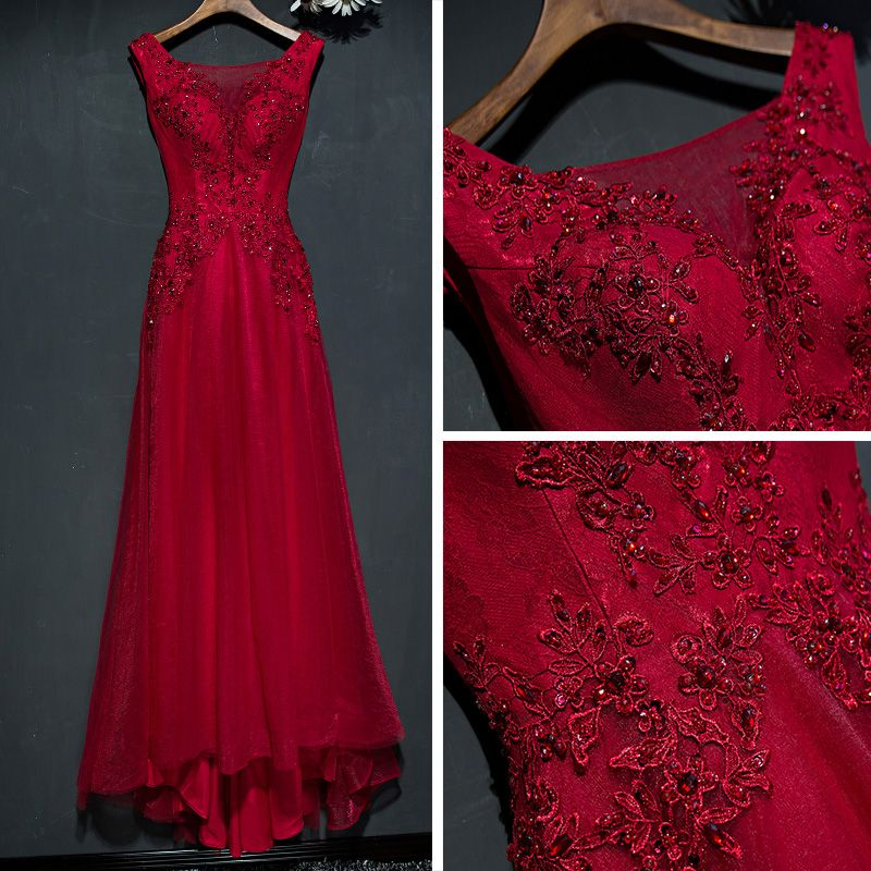 Chic / Beautiful Red Formal Dresses Evening Dresses  2017 Lace Flower Sleeveless Square Neckline A-Line / Princess