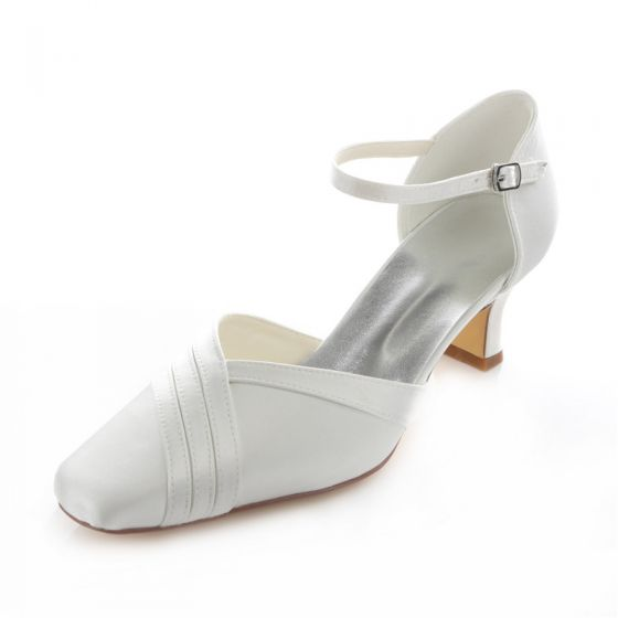 Beautiful White Satin Bridal Shoes 2 Inch Stiletto Heel Pumps