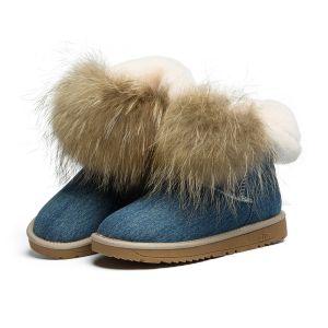 Stylowe / Modne Snow Boots 2017 Tusz Niebieski Botki Dżinsowa Przypadkowy Zima Płaskie Buty Damskie