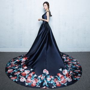 Chic / Beautiful Navy Blue Chapel Train Evening Dresses  2018 A-Line / Princess V-Neck Charmeuse Backless Printing Evening Party Formal Dresses