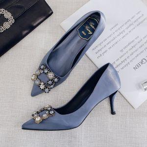 Mode Océan Bleu Soirée Escarpins 2020 Satin Faux Diamant 9 cm Talons Aiguilles À Bout Pointu Escarpins