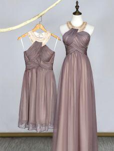 Schönes Abendkleid Kristall Rohr U-ausschnitt Rüschen Champagner Chiffon Kleid
