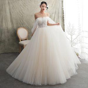 Edles Champagner Brautkleider / Hochzeitskleider 2019 A Linie Bandeau Kurze Ärmel Rückenfreies Perlenstickerei Sweep / Pinsel Zug Rüschen