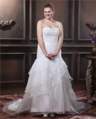 Organza Beading Pleat Sweetheart Chapel Train Plus Size Wedding Dresses