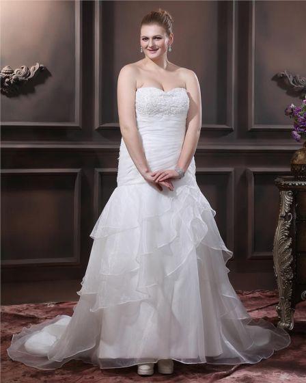 Organza Beading Pleat Sweetheart Chapel Train Plus Size Wedding Dresses