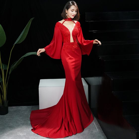 Sexy Red See-through Evening Dresses  2019 Trumpet / Mermaid High Neck 3/4 Sleeve Bell sleeves Appliques Lace Beading Sweep Train Backless Formal Dresses