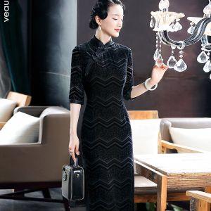 Chiński Styl Czarne Zamszowe Cheongsam 2020 Otoczka / Nadające Wysokiej Szyi 3/4 Rękawy Długość Herbaty Sukienki Wizytowe