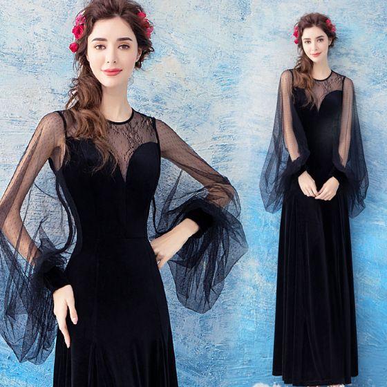 5b5b6cec59 Elegantes Negro Transparentes Vestidos de noche 2018 Sheath   Fit Scoop  Escote Manga Larga La altura del ...