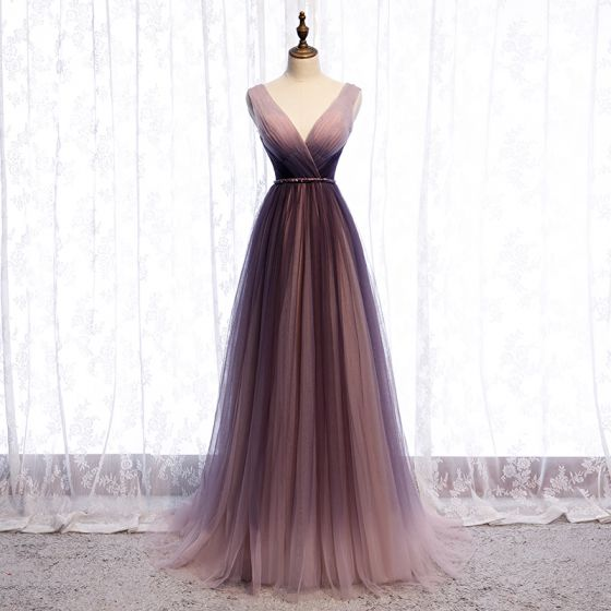 Chic / Beautiful Gradient-Color Purple Evening Dresses  2020 A-Line / Princess V-Neck Sash Sleeveless Backless Floor-Length / Long Formal Dresses