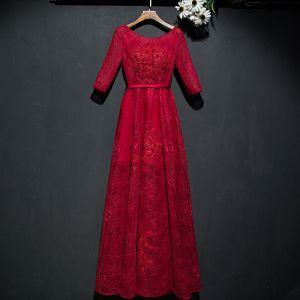 Hermoso Rojo Vestidos Formales Vestidos de noche 2017 De Encaje Flor Lentejuelas Scoop Escote 1/2 Ærmer La altura del tobillo A-Line / Princess