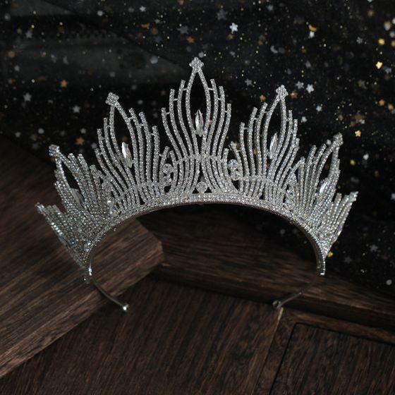 Hermoso Plata Rhinestone Tiara Boda Accesorios 2019 Tocados de novia