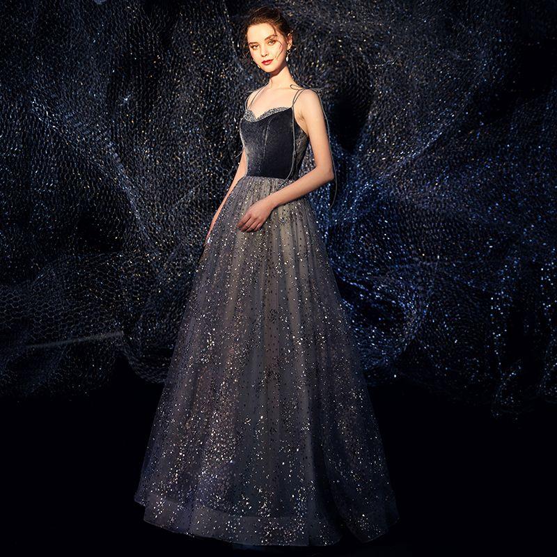 Ciel étoilé Bleu Marine Daim Robe De Soirée 2019 Princesse Bretelles Spaghetti Sans Manches Glitter Tulle Longue Volants Dos Nu Robe De Ceremonie