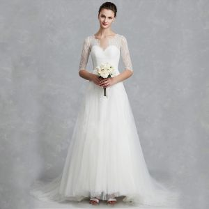 Classic Elegant White Wedding Dresses 2020 A-Line / Princess V-Neck 1/2 Sleeves Backless Embroidered Royal Train Wedding
