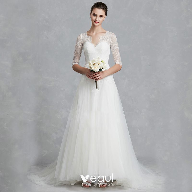 Royal Wedding 2020 Guest List.Classic Elegant White Wedding Dresses 2020 A Line Princess V Neck 1 2 Sleeves Backless Embroidered Royal Train Wedding