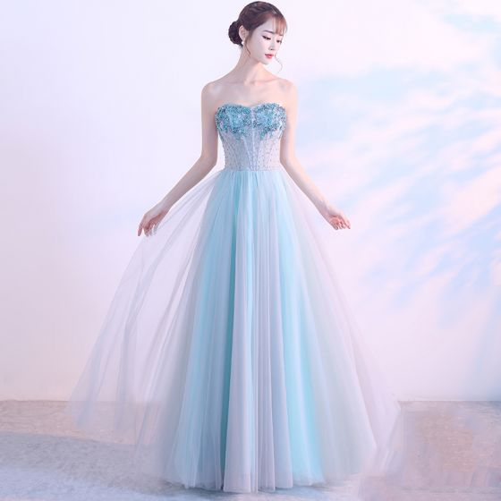 Chic / Beautiful 2017 Evening Dresses  A-Line / Princess Sky Blue Evening Party Homecoming Backless Corset Sweetheart Formal Dresses