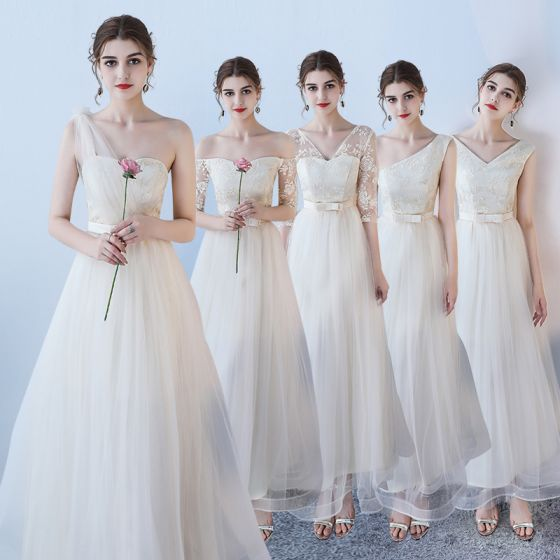 Affordable Champagne Bridesmaid Dresses 2018 A-Line / Princess Bow Sash Ankle Length Ruffle Backless Wedding Party Dresses