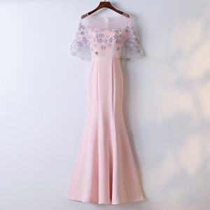 Chic / Beautiful Blushing Pink Evening Dresses  2017 Trumpet / Mermaid Lace Flower Artificial Flowers Scoop Neck Zipper Up 1/2 Sleeves Ankle Length Evening Party