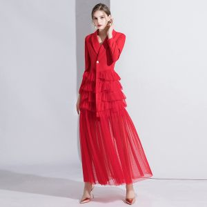 Fashion Red Evening Dresses  2020 A-Line / Princess V-Neck Long Sleeve Floor-Length / Long Cascading Ruffles Formal Dresses