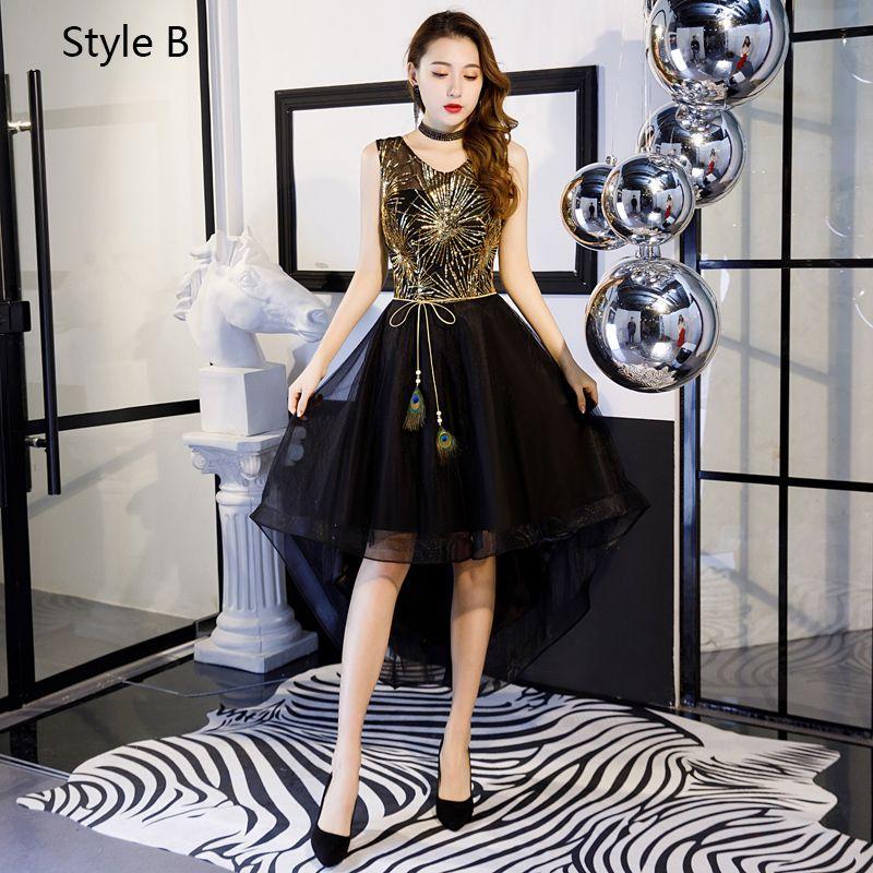 Charming Gold Black Cocktail Dresses 2019 A-Line / Princess Off-The-Shoulder Lace Sequins Bow Short Sleeve Backless Asymmetrical Formal Dresses