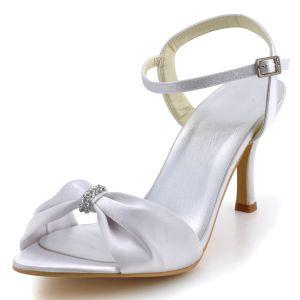Einfache Und Elegante Schuhe Mit Hohen Absätzen High-end-satin Hochzeit Schuhe