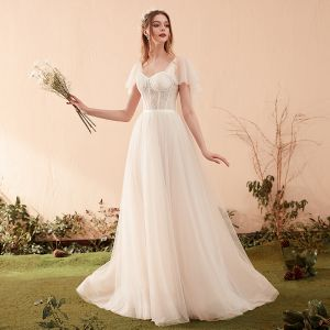 Schlicht Champagner Brautkleider / Hochzeitskleider 2019 A Linie Eckiger Ausschnitt Kurze Ärmel Rückenfreies Sweep / Pinsel Zug Rüschen