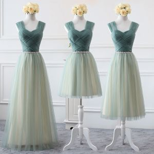 Affordable Sage Green Bridesmaid Dresses 2019 A-Line / Princess Shoulders Sleeveless Backless Rhinestone Sash Wedding Party Dresses