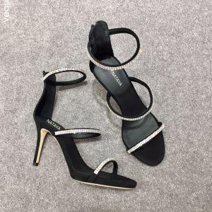 Sexy Schwarz Cocktail Sandalen Damen 2020 Strass 10 cm Stilettos Peeptoes Sandaletten
