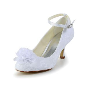 Beautiful Stiletto Heel Pumps White Lace Bridal Wedding Shoes With Hand-made Flower