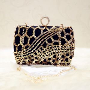 Chic / Beautiful 2017 Black Gold Leaf Sequins PU Beach Outdoor / Garden Clutch Bags