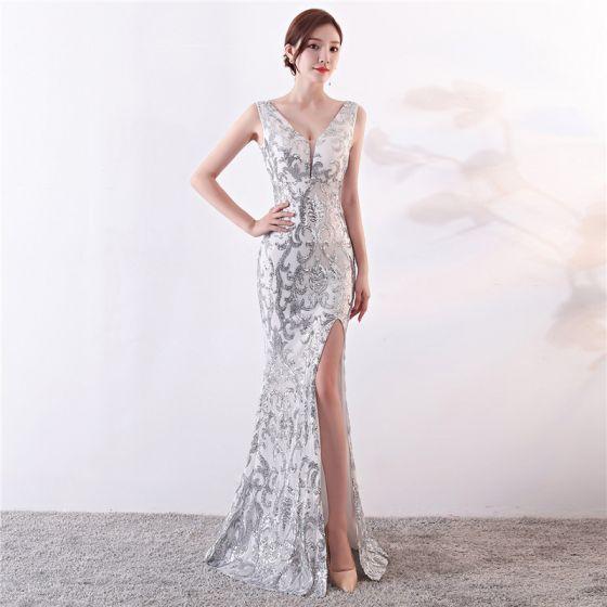 Glitzernden Silber Abendkleider 2019 Meerjungfrau V-Ausschnitt Pailletten Ärmellos Rückenfreies Gespaltete Front Lange Festliche Kleider
