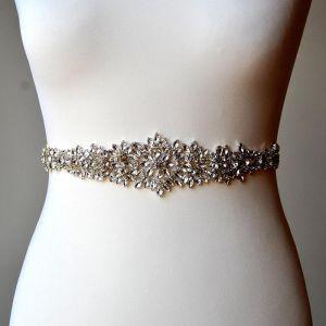 Luxury / Gorgeous Ivory Sash 2020 Satin Metal Beading Rhinestone Wedding Evening Party Prom Accessories