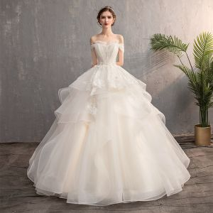 Affordable Champagne Outdoor / Garden Wedding Dresses 2019 A-Line / Princess Off-The-Shoulder Short Sleeve Backless Appliques Lace Beading Pearl Floor-Length / Long Ruffle